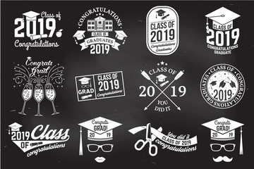 Vector Class of 2019 badge. Concept for shirt, print, seal, overlay or stamp, greeting, invitation card