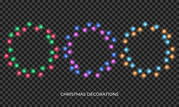 Christmas lights. Realistic multicolored wreath for New Year and Xmas season. Glowing isolated shiny lights with transparent effect