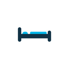 Bed icon colored symbol. Premium quality isolated bedroom element in trendy style.