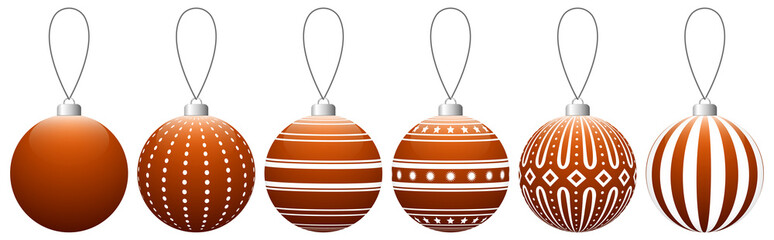 Collection of orange glass Christmas balls with pattern hanging on a thread. Vector EPS 10