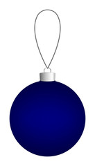 Dark blue Christmas ball hanging on a thread. Vector EPS 10