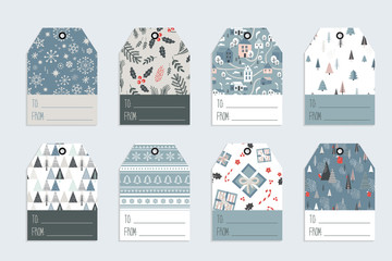Christmas gift tag set in retro style . vector illustration