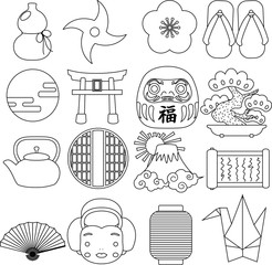New Year's Japanese style icon outline set