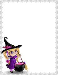 Halloween template of witch baby girl with broomstick, cauldron, copy space on white background