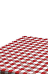 Empty table corner with checkered tablecloth on white background