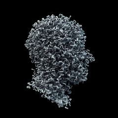 3D Head Shape Made of White Question Marks