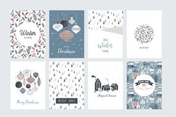 Christmas poster and greeting cards in retro style. Christmas balls in pastel colors, winter landscape and cosy houses. merry christmas illustration Wall mural