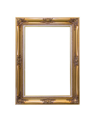 Gold picture frame isolated on white background with clipping path