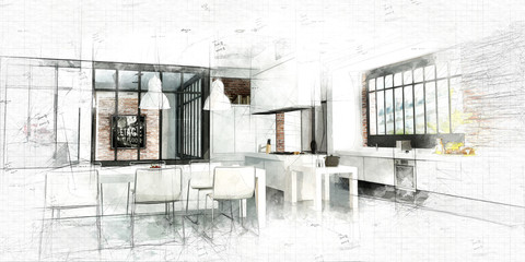 Painting of a Modern Loft kitchen