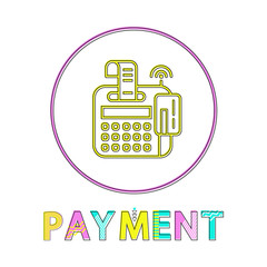 Wall Mural - Online Payment Round Bright Linear Icon Template