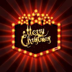 Christmas banner with light bulbs