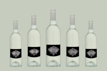 Alcohol bottles with silver plated labels.