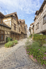 Half-timbered houses at the old town of Troyes, France