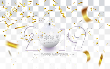 Happy New Year 2019,Christmas card with golden defocused confetti and white decoration isolated on a checkered background