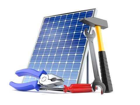 Photovoltaic panel with work tools