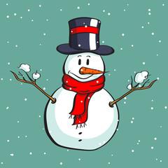 Cartoon Happy Snowman