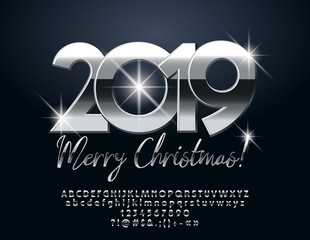 Vector chic Merry Christmas 2019 Greeting Card with set of Letters, Symbols and Numbers. Silver Font.