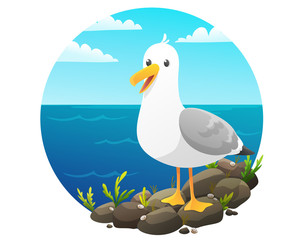 Cute seagull on rock cliff with seaweed and shells. Blue sky and sea background. Vector illustration.