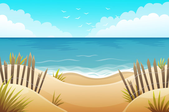 Scenery of sand dunes beach with grass and wood fences. Summer scenery. Vector illustration.