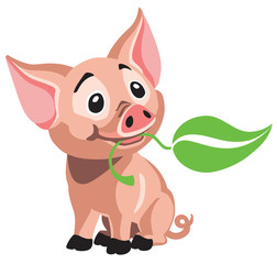 Spoed Foto op Canvas Babykamer cartoon little baby pig . Happy piglet holding a green leaf in his mouth . Isolated vector illustration
