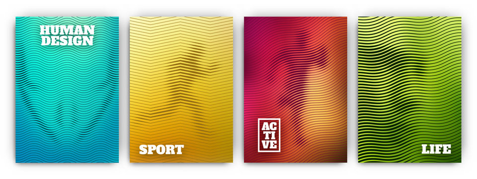 Colorful flyer template set - minimal cover designs - geometric human figure backgrounds with wavy lines