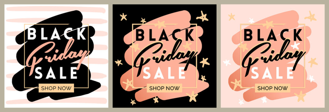 Black friday sale inscription invitation banner set. Square frame and stars in black pink colors. Three Vector illustration in flat style.