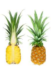 Photo sur Plexiglas Draw close-up of natural fresh fruit of pineapple, isolated on white background with clipping path