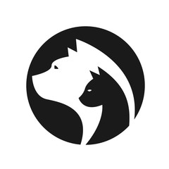 Head of a cat and dog in circle sign vector design