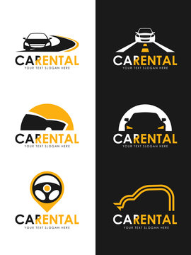 Car Rental logo sign whit black and yellow car , road and steering wheel sign vector set design