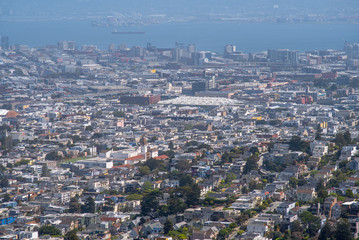 San Francisco private houses, view from Twin Peaks