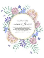 Template for greeting cards, wedding decorations, invitation, sales. Vector round banner with Luxurious summer wild flowers. Spring or summer design. Space for text.