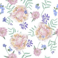 Seamless pattern with peony and wild flowers. Modern floral pattern for textile, wallpaper, print, gift wrap, greeting or wedding background.