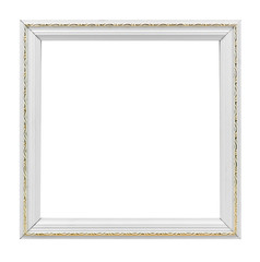 White photo frame on white background with golden decoration