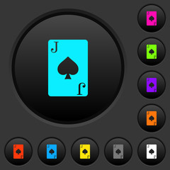 Jack of spades card dark push buttons with color icons