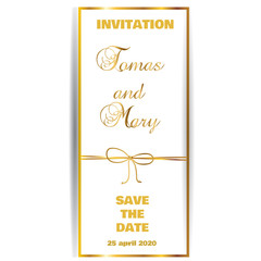 Vintage gold line luxury wedding background with ribbon and bow