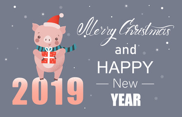 Christmas and New Year 2019 card with cute pig - symbol of the year.