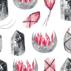Seamless watercolor pattern with magic gemstouns on white isolated background