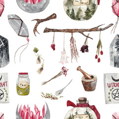 Seamless watercolor pattern with magic items on white isolated background