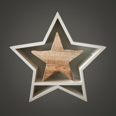 Christmas decoration white star with wooden star inside