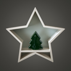 Christmas decoration white star with tree figure inside