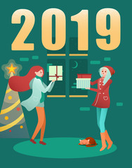 Happy 2019 New Year card with Christmas tree and girls with gifts.