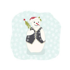 Christmas Snowman With Waistcoat Clipart, Hand Drawn Holidays Illustration for Winter Fashion Prints, Adorable Stationery, Xmas Decor, Greeting Cards, Party Invitations or Trendy Nordic Festive Gifts