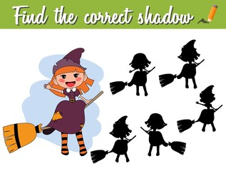 Find the correct shadow. Educational matching game for children with cartoon witch on a broom