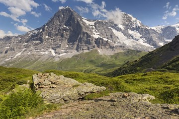 In front of the famous north face of Eiger mount and the Jungfrau mountain group, Mannlichen, Grindelwald, Berner Oberland, Switzerland, Europe