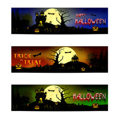Banners for Halloween. beautiful background with creepy full moon, bats and cats, shadows of trees and spooky halloween pumpkins