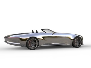 Beautiful chrome modern cabriolet concept car - tail view