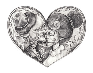 Art Couple Kiss Skulls Tattoo. Hand pencil drawing on paper.