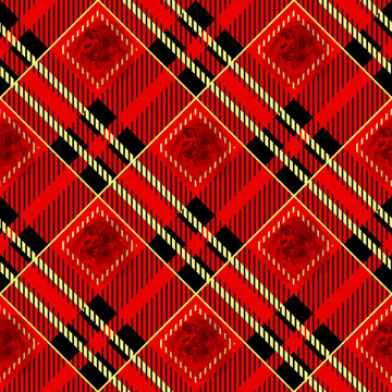 Tartan plaid seamless pattern. Red and black color. Watercolor seamless