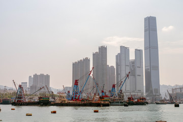 Hong Kong, October 5, 2018. View of the skyscrapers from the port.