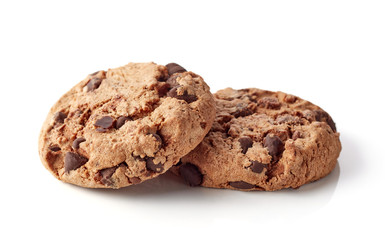 Fresh chocolate chip cookies isolated on white